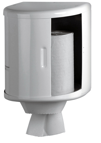 Dispensador de papel bobina en acero epoxi blanco cimetres for Dispensador de papel